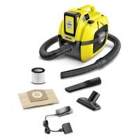 Хозяйственный аккумуляторный пылесос Karcher WD 1 COMPACT BATTERY SET для сбора сухого и влажного мусора с функцией выдува