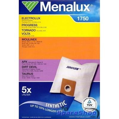 Синтетические пылесборники Menalux 1750 Мешки синтетические Menalux 1750 для пылесосов Elenberg, Bimatek, Scarlet и др. Нетканые пылесборники Menalux увеличивают срок службы Вашего пылесоса до 50%, за счет высокого уровня фильтрации. Многослойный синтетический материал является более прочным и устойчивым к влаге. В комплект Menalux 1750 входит 5 синтетических пылесборников и 1 моторный фильтр.